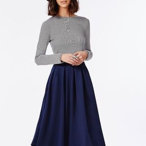 high waist midi skirt long a line navy blue linen